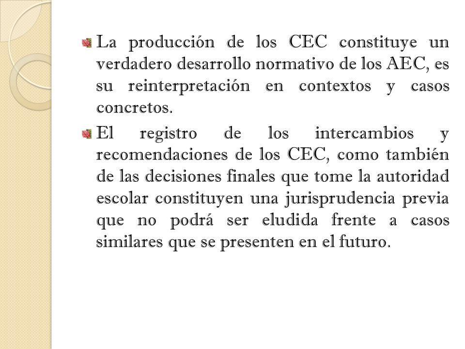 La producción de los CEC constituye un verdadero desarrollo normativo de los AEC, es su reinterpretación en contextos y casos concretos. El registro d