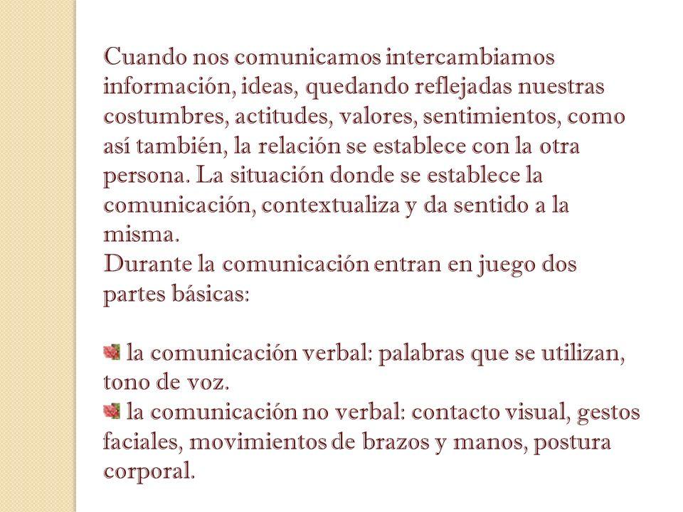 Cuando nos comunicamos intercambiamos información, ideas, quedando reflejadas nuestras costumbres, actitudes, valores, sentimientos, como así también,