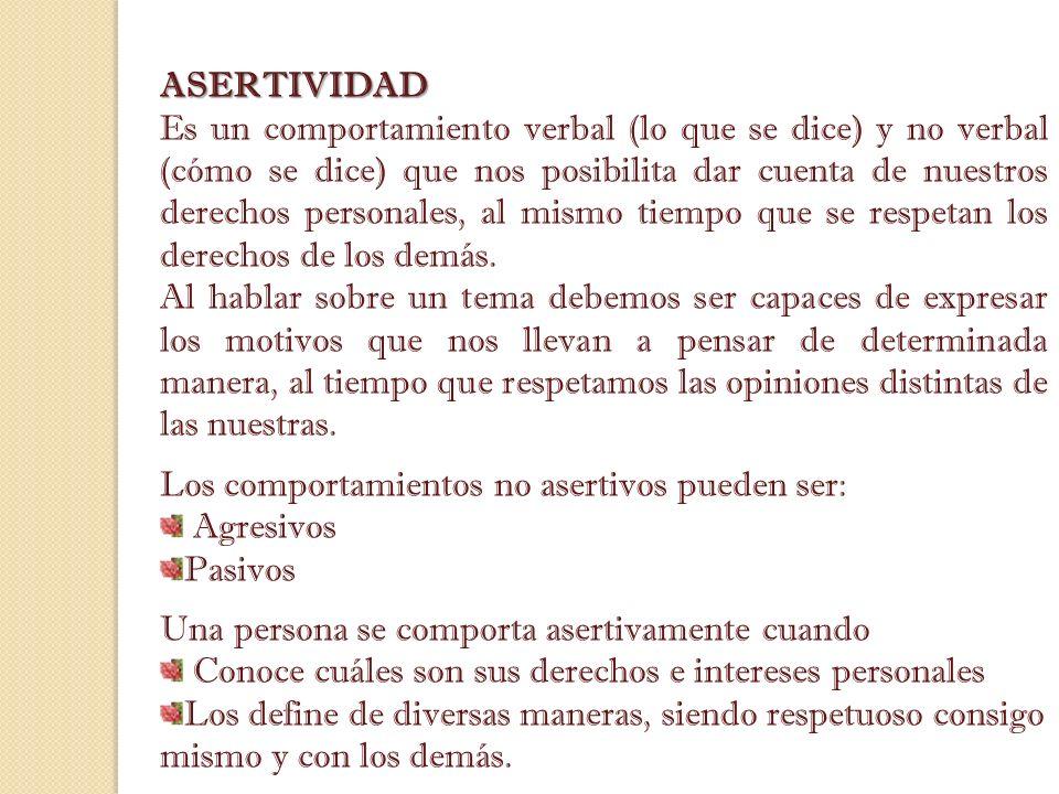 ASERTIVIDAD Es un comportamiento verbal (lo que se dice) y no verbal (cómo se dice) que nos posibilita dar cuenta de nuestros derechos personales, al