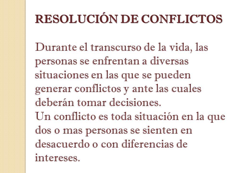 RESOLUCIÓN DE CONFLICTOS Durante el transcurso de la vida, las personas se enfrentan a diversas situaciones en las que se pueden generar conflictos y