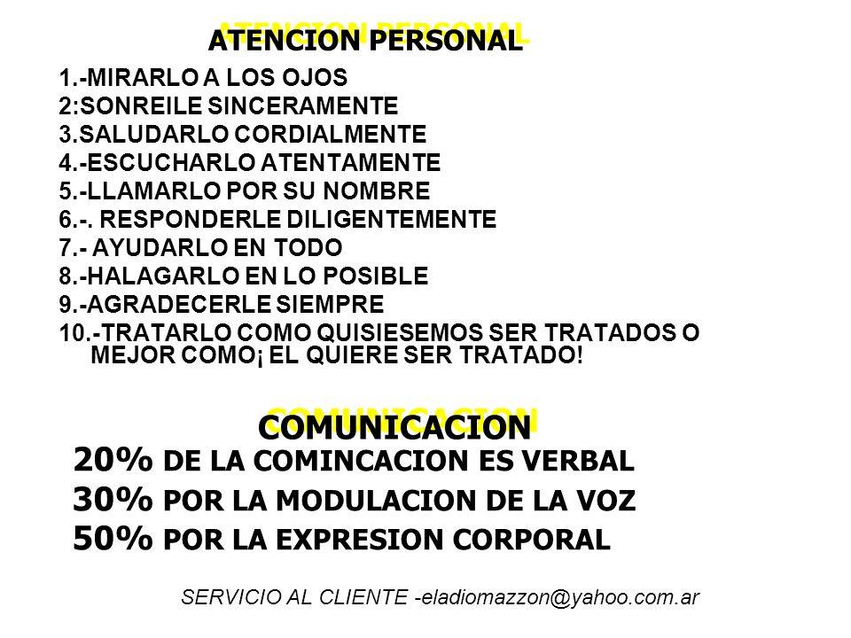 ATENCION PERSONAL 1.-MIRARLO A LOS OJOS 2:SONREILE SINCERAMENTE 3.SALUDARLO CORDIALMENTE 4.-ESCUCHARLO ATENTAMENTE 5.-LLAMARLO POR SU NOMBRE 6.-. RESP