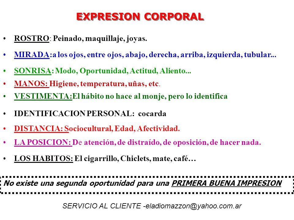 EXPRESION CORPORAL EXPRESION CORPORAL MANOS: Higiene, temperatura, uñas, etc. ROSTRO: Peinado, maquillaje, joyas. MIRADA:a los ojos, entre ojos, abajo