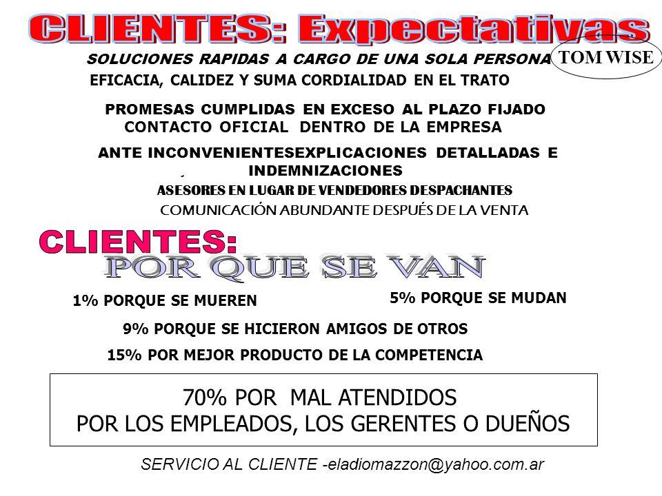 SOLUCIONES RAPIDAS A CARGO DE UNA SOLA PERSONA EFICACIA, CALIDEZ Y SUMA CORDIALIDAD EN EL TRATO CONTACTO OFICIAL DENTRO DE LA EMPRESA PROMESAS CUMPLIDAS EN EXCESO AL PLAZO FIJADO TOM WISE ANTE INCONVENIENTESEXPLICACIONES DETALLADAS E INDEMNIZACIONES ASESORES EN LUGAR DE VENDEDORES DESPACHANTES COMUNICACIÓN ABUNDANTE DESPUÉS DE LA VENTA SERVICIO AL CLIENTE -eladiomazzon@yahoo.com.ar 1% PORQUE SE MUEREN 5% PORQUE SE MUDAN 9% PORQUE SE HICIERON AMIGOS DE OTROS 15% POR MEJOR PRODUCTO DE LA COMPETENCIA 70% POR MAL ATENDIDOS POR LOS EMPLEADOS, LOS GERENTES O DUEÑOS