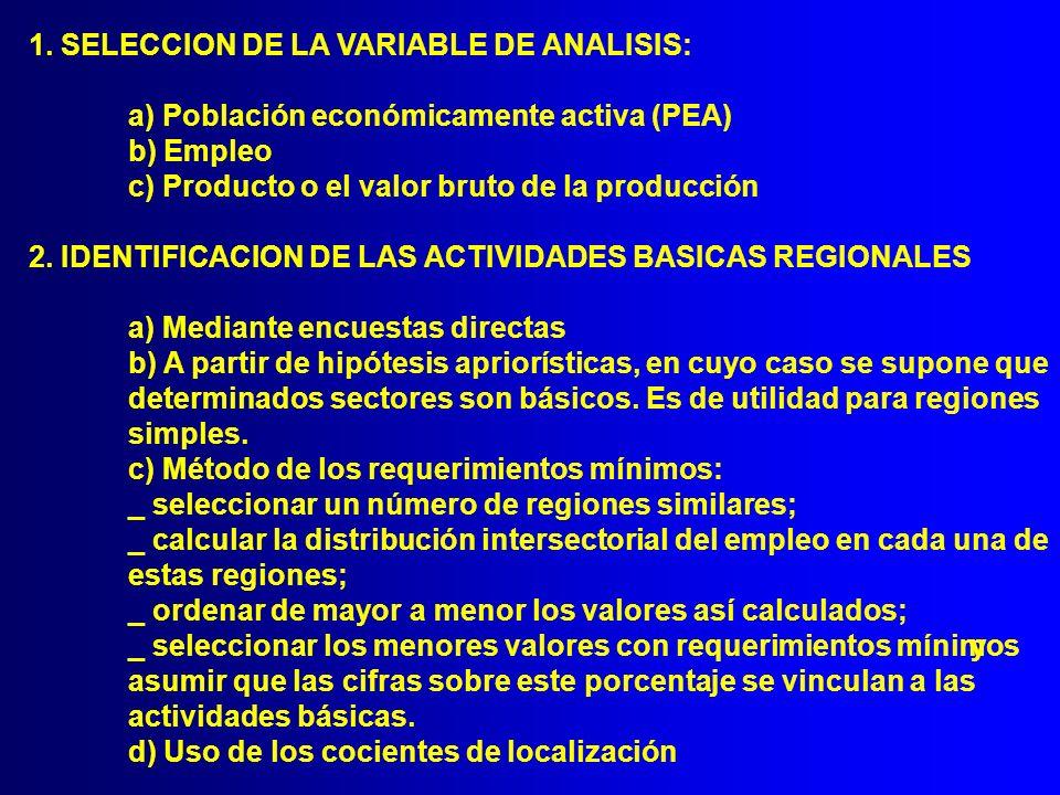 1. SELECCION DE LA VARIABLE DE ANALISIS: a) Población económicamente activa (PEA) b) Empleo c) Producto o el valor bruto de la producción 2. IDENTIFIC