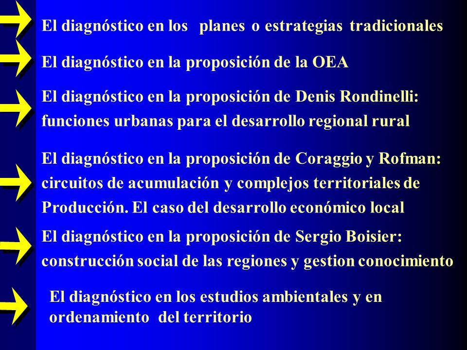 El diagnóstico en los planes oestrategias tradicionales El diagnóstico en la proposición de la OEA El diagnóstico en la proposición de Denis Rondinell