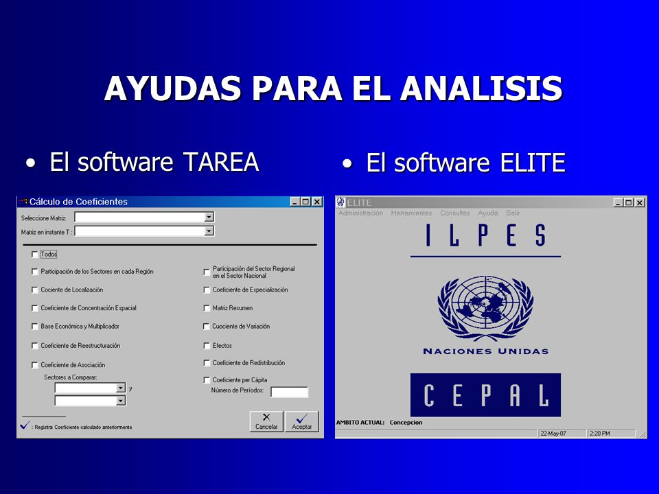 AYUDAS PARA EL ANALISIS El software TAREAEl software TAREA El software ELITEEl software ELITE