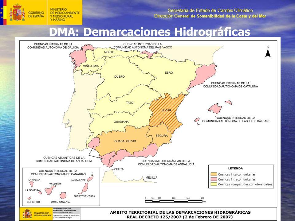Secretaría de Estado de Cambio Climático Dirección G eneral de Sostenibilidad de la Costa y del Mar DMA: Demarcaciones Hidrográficas