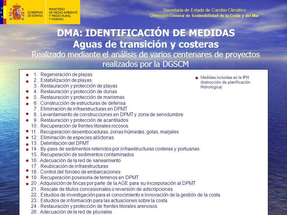 Secretaría de Estado de Cambio Climático Dirección G eneral de Sostenibilidad de la Costa y del Mar DMA: IDENTIFICACIÓN DE MEDIDAS Aguas de transición y costeras Realizado mediante el análisis de varios centenares de proyectos realizados por la DGSCM 1.
