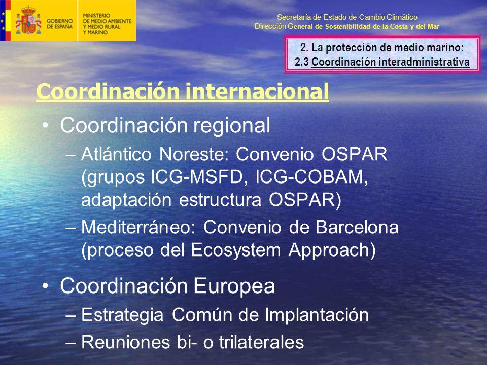 Secretaría de Estado de Cambio Climático Dirección G eneral de Sostenibilidad de la Costa y del Mar Coordinación regional –Atlántico Noreste: Convenio OSPAR (grupos ICG-MSFD, ICG-COBAM, adaptación estructura OSPAR) –Mediterráneo: Convenio de Barcelona (proceso del Ecosystem Approach) Coordinación Europea –Estrategia Común de Implantación –Reuniones bi- o trilaterales Coordinación internacional 2.