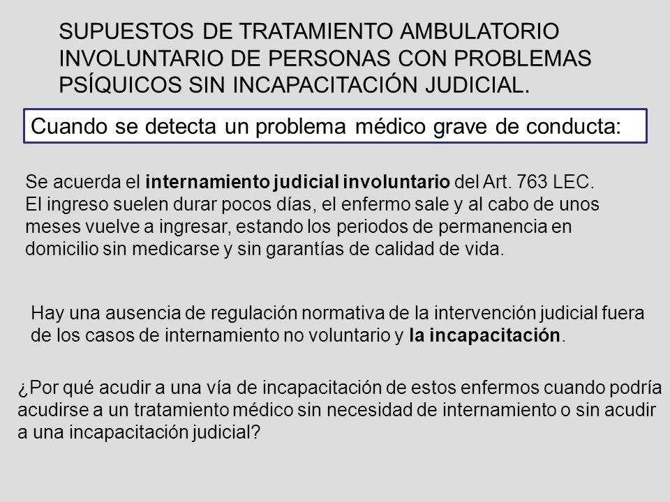 SUPUESTOS DE TRATAMIENTO AMBULATORIO INVOLUNTARIO DE PERSONAS CON PROBLEMAS PSÍQUICOS SIN INCAPACITACIÓN JUDICIAL. Se acuerda el internamiento judicia