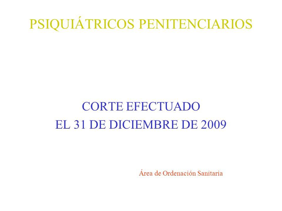 PSIQUIÁTRICOS PENITENCIARIOS CORTE EFECTUADO EL 31 DE DICIEMBRE DE 2009 Área de Ordenación Sanitaria