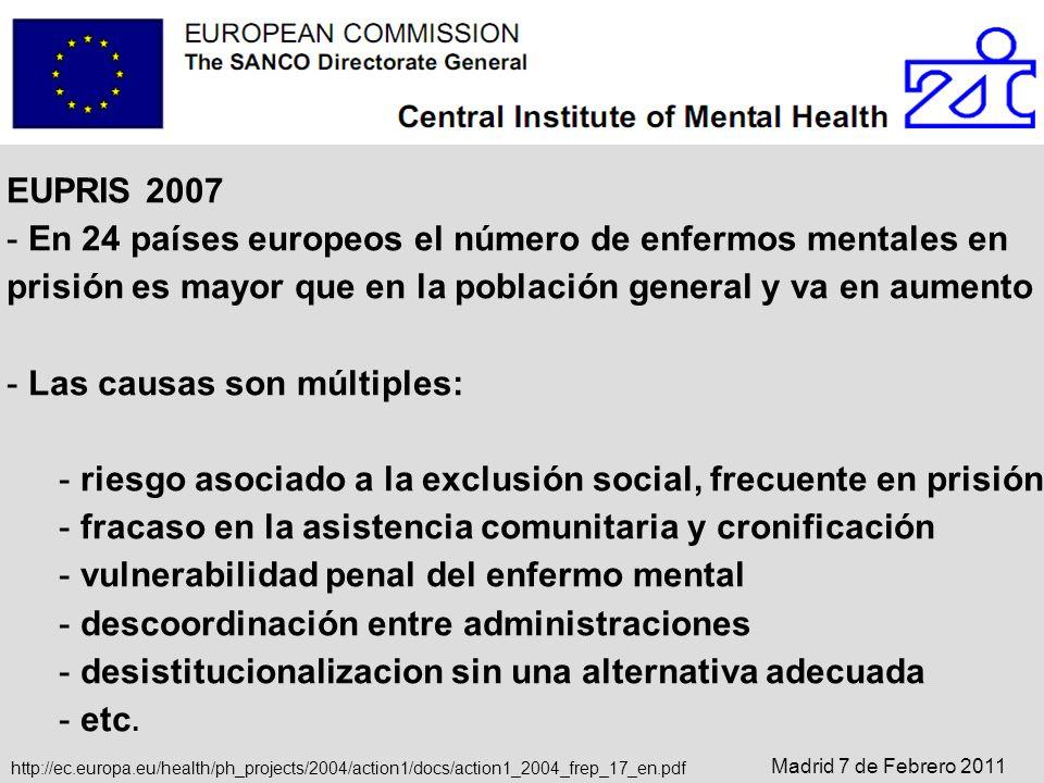 EUPRIS 2007 - En 24 países europeos el número de enfermos mentales en prisión es mayor que en la población general y va en aumento - Las causas son mú