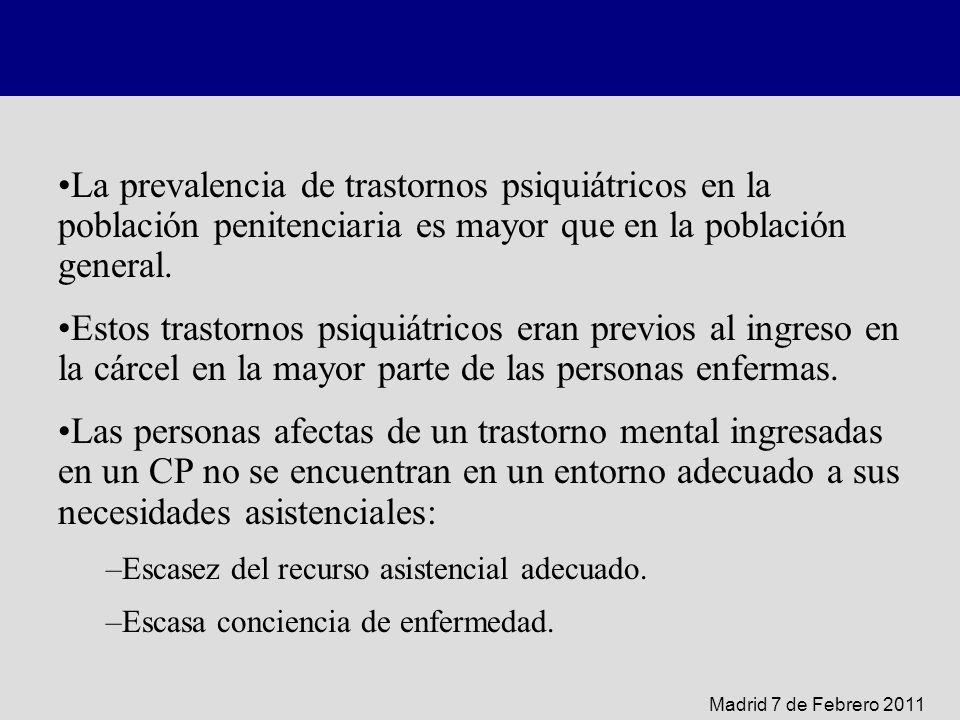 La prevalencia de trastornos psiquiátricos en la población penitenciaria es mayor que en la población general. Estos trastornos psiquiátricos eran pre