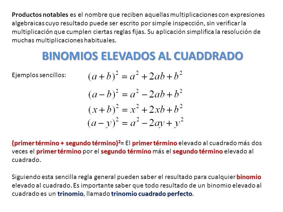 Productos notables es el nombre que reciben aquellas multiplicaciones con expresiones algebraicas cuyo resultado puede ser escrito por simple inspecci