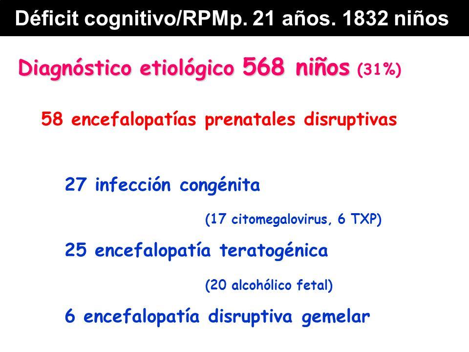 Diagnóstico etiológico 568 niños Diagnóstico etiológico 568 niños (31%) 58 encefalopatías prenatales disruptivas 27 infección congénita (17 citomegalovirus, 6 TXP) 25 encefalopatía teratogénica (20 alcohólico fetal) 6 encefalopatía disruptiva gemelar Déficit cognitivo/RPMp.