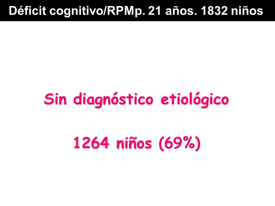 Sin diagnóstico etiológico 1264 niños 1264 niños (69%) Déficit cognitivo/RPMp. 21 años. 1832 niños