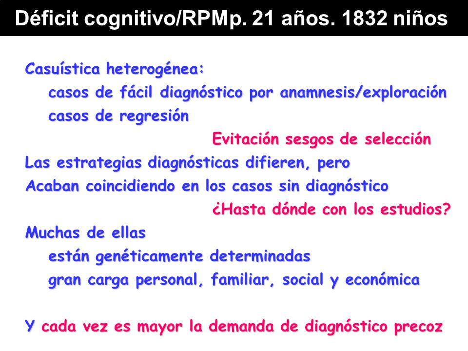 Casuística heterogénea: casos de fácil diagnóstico por anamnesis/exploración casos de regresión Evitación sesgos de selección Las estrategias diagnósticas difieren, pero Acaban coincidiendo en los casos sin diagnóstico ¿Hasta dónde con los estudios.