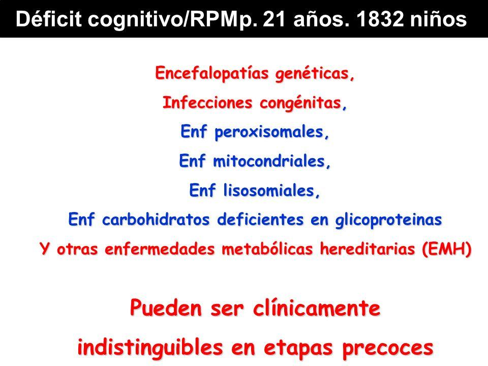 Encefalopatías genéticas, Infecciones congénitas, Enf peroxisomales, Enf mitocondriales, Enf lisosomiales, Enf carbohidratos deficientes en glicoproteinas Y otras enfermedades metabólicas hereditarias (EMH) Pueden ser clínicamente indistinguibles en etapas precoces Déficit cognitivo/RPMp.