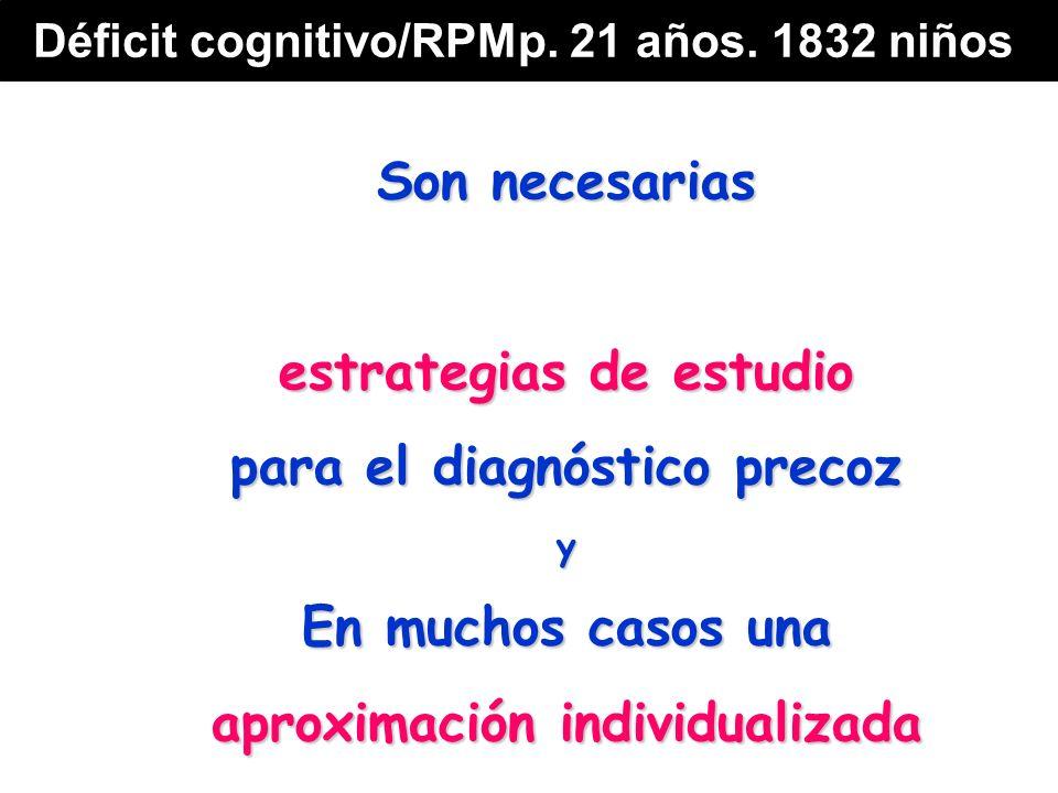 Son necesarias estrategias de estudio para el diagnóstico precoz y En muchos casos una aproximación individualizada Déficit cognitivo/RPMp.