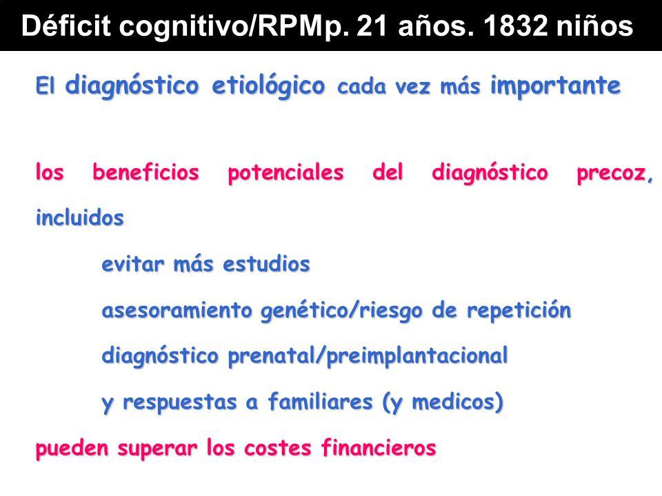El diagnóstico etiológico cada vez más importante los beneficios potenciales del diagnóstico precoz, incluidos evitar más estudios asesoramiento genético/riesgo de repetición diagnóstico prenatal/preimplantacional y respuestas a familiares (y medicos) pueden superar los costes financieros Déficit cognitivo/RPMp.