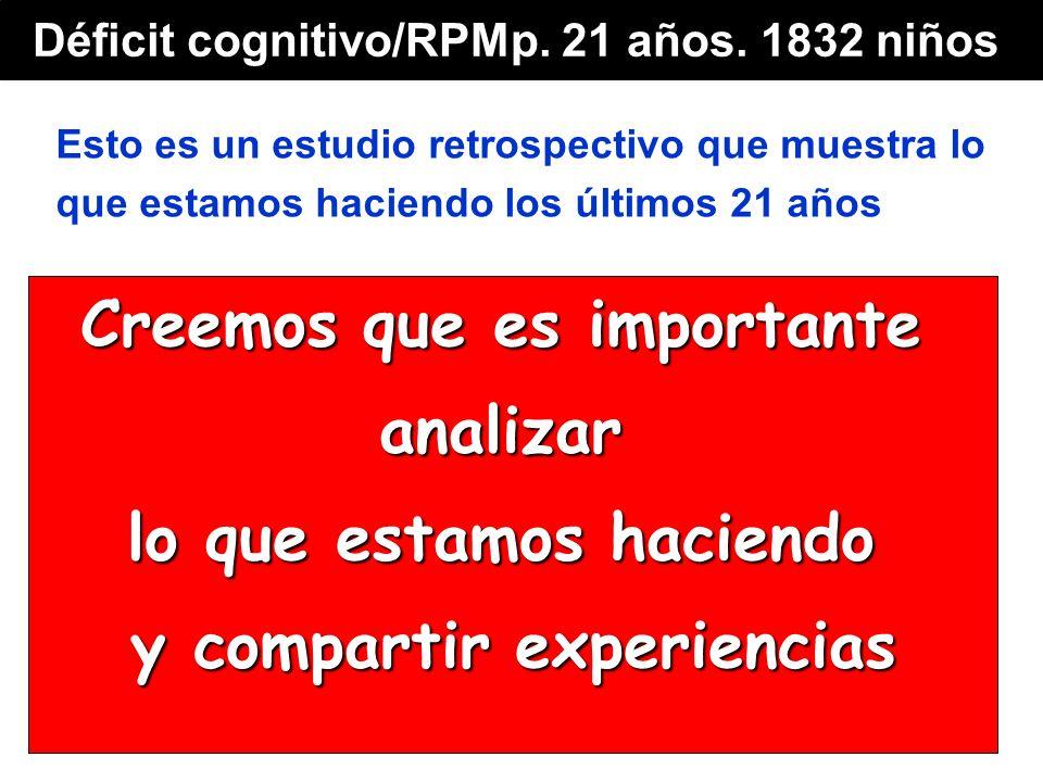 Esto es un estudio retrospectivo que muestra lo que estamos haciendo los últimos 21 años Creemos que es importante analizar lo que estamos haciendo y compartir experiencias Déficit cognitivo/RPMp.
