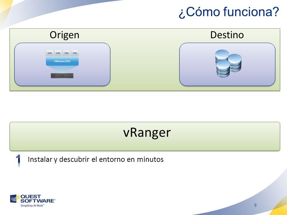 9 ¿Cómo funciona? OrigenDestino vRanger Instalar y descubrir el entorno en minutos
