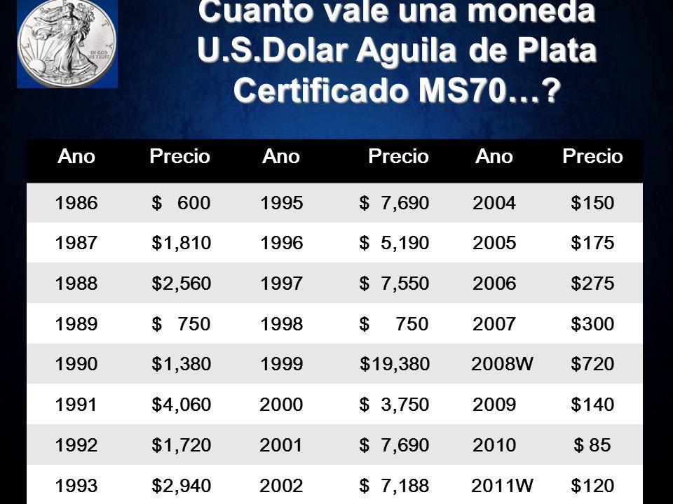 Cuanto es el valor de una moneda Aguila Plata MS70….