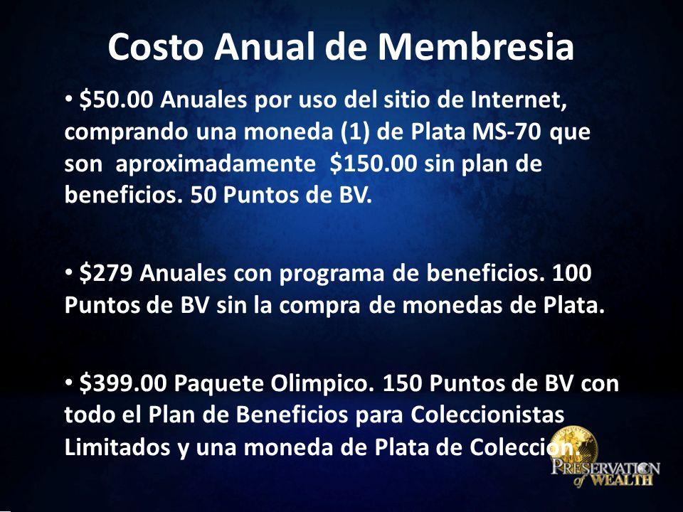 $50.00 Anuales por uso del sitio de Internet, comprando una moneda (1) de Plata MS-70 que son aproximadamente $150.00 sin plan de beneficios.