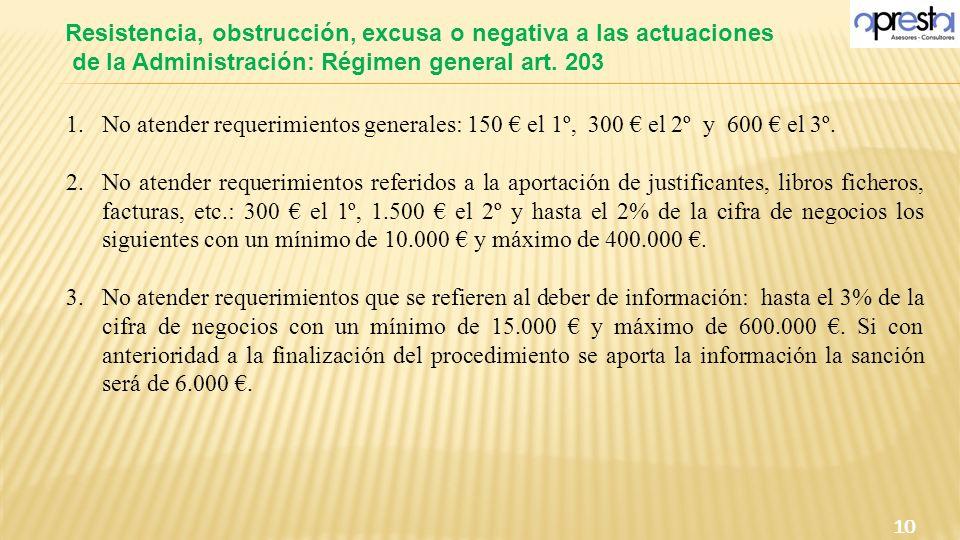 Resistencia, obstrucción, excusa o negativa a las actuaciones de la Administración: Régimen general art. 203 10 1.No atender requerimientos generales: