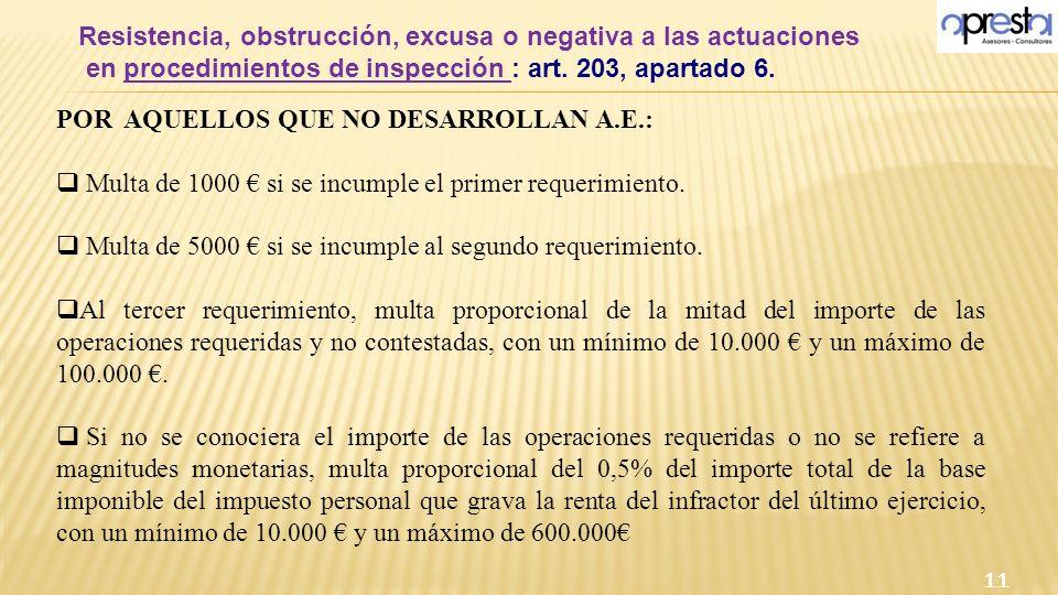 Resistencia, obstrucción, excusa o negativa a las actuaciones en procedimientos de inspección : art. 203, apartado 6. 11 POR AQUELLOS QUE NO DESARROLL