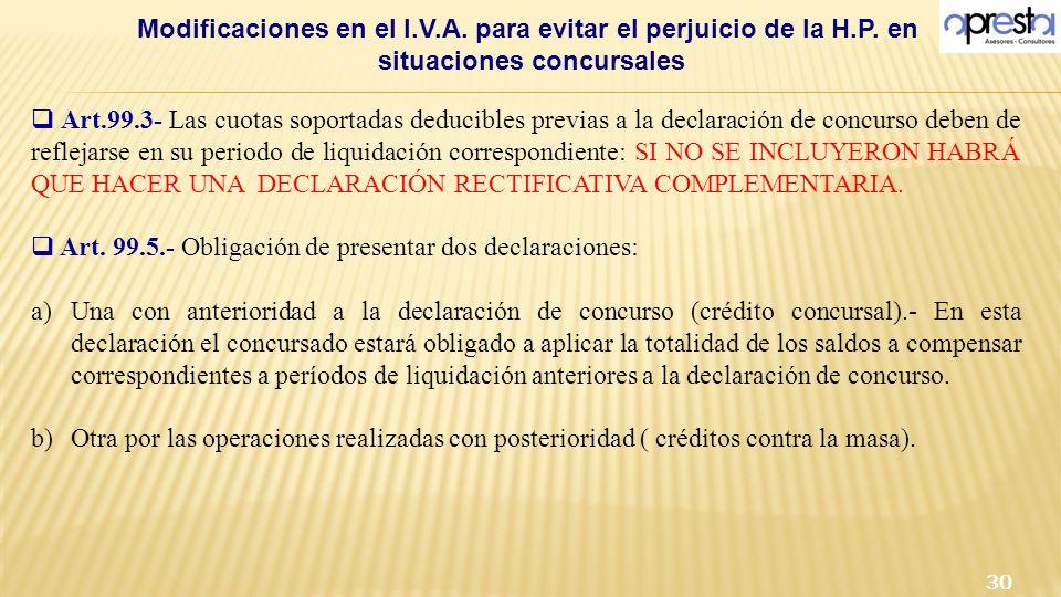 Modificaciones en el I.V.A. para evitar el perjuicio de la H.P. en situaciones concursales 30 Art.99.3- Las cuotas soportadas deducibles previas a la