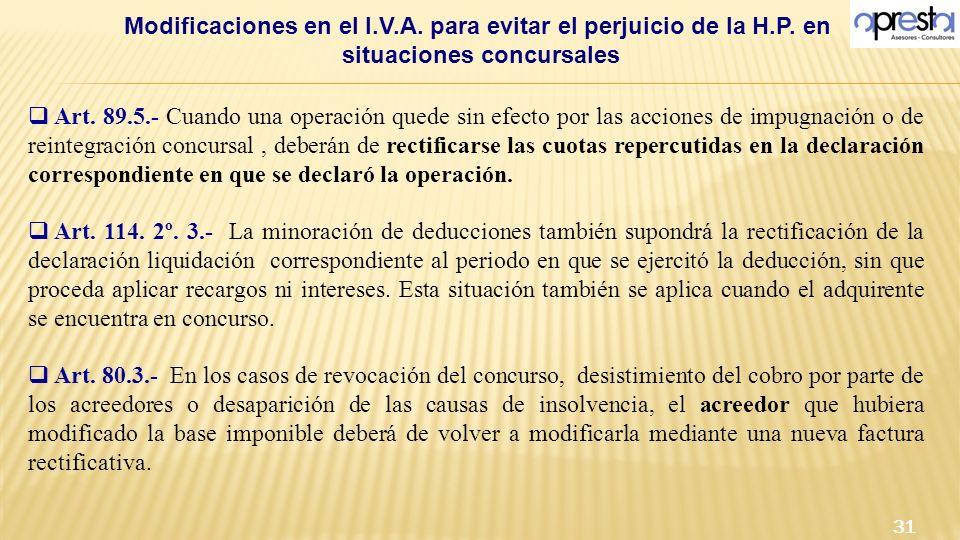 Modificaciones en el I.V.A. para evitar el perjuicio de la H.P. en situaciones concursales 31 Art. 89.5.- Cuando una operación quede sin efecto por la