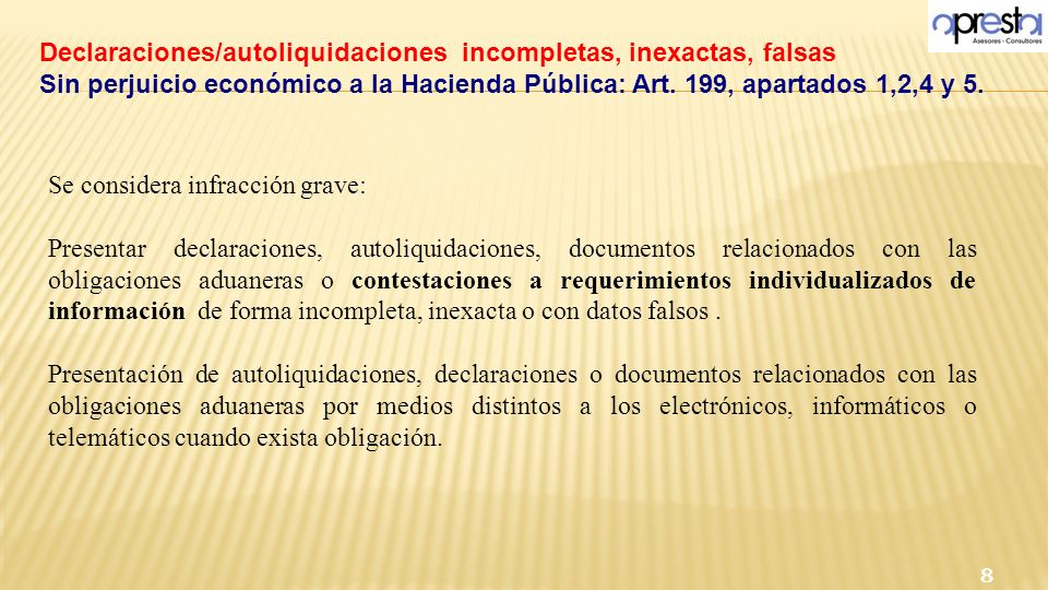 Declaraciones/autoliquidaciones incompletas, inexactas, falsas Sin perjuicio económico a la Hacienda Pública: Art. 199, apartados 1,2,4 y 5. 8 Se cons