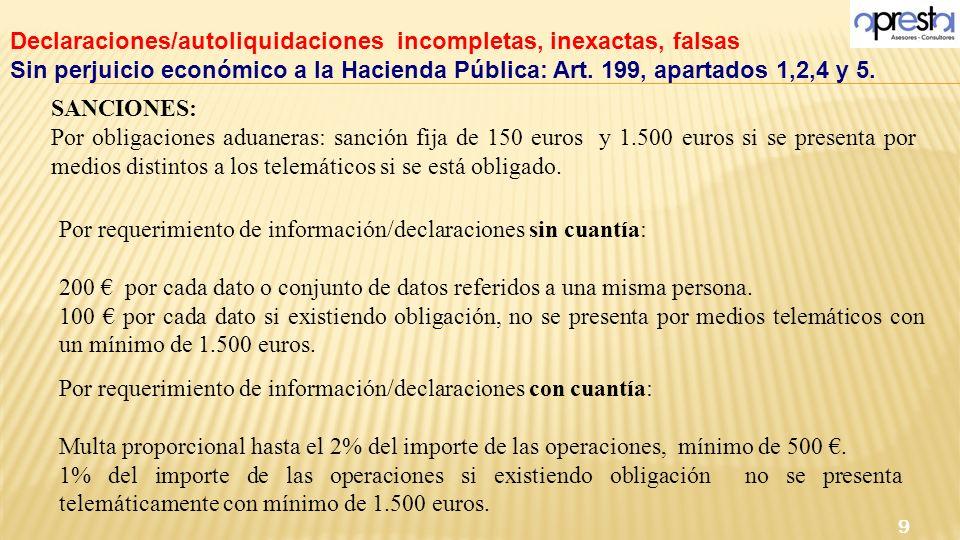 SANCIONES: Por obligaciones aduaneras: sanción fija de 150 euros y 1.500 euros si se presenta por medios distintos a los telemáticos si se está obliga