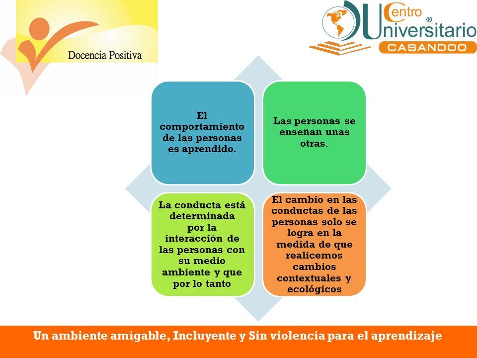 Un ambiente amigable, Incluyente y Sin violencia para el aprendizaje El comportamiento de las personas es aprendido. Las personas se enseñan unas otra