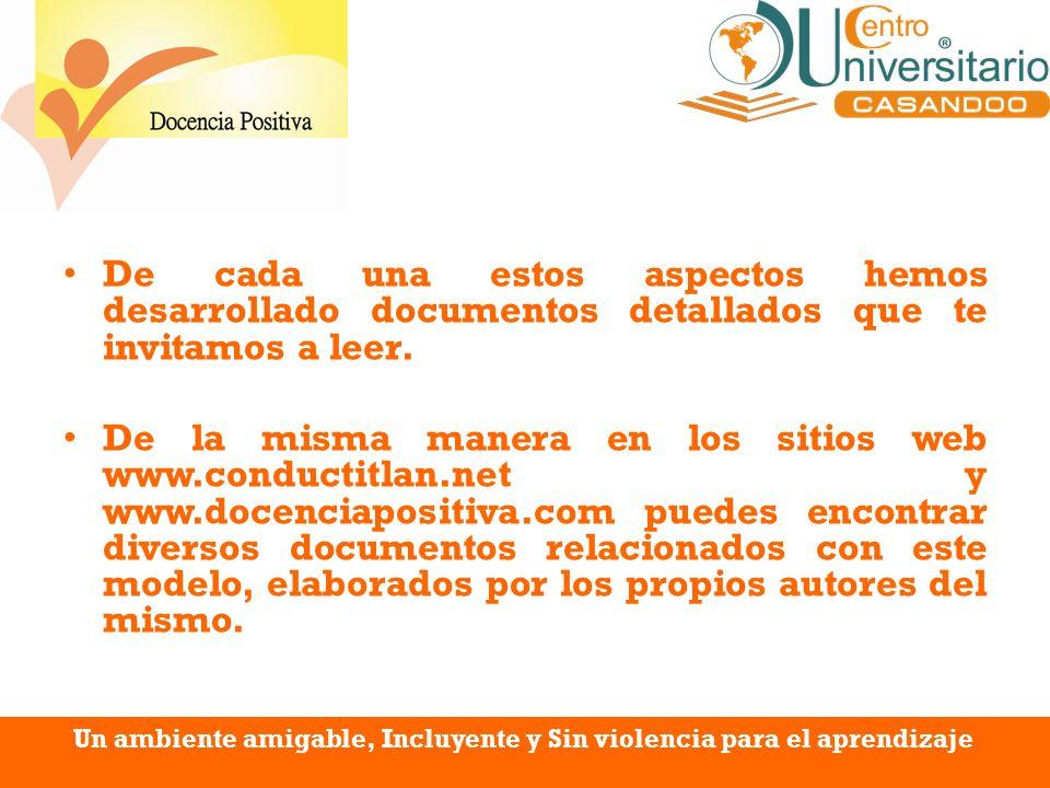 De cada una estos aspectos hemos desarrollado documentos detallados que te invitamos a leer. De la misma manera en los sitios web www.conductitlan.net