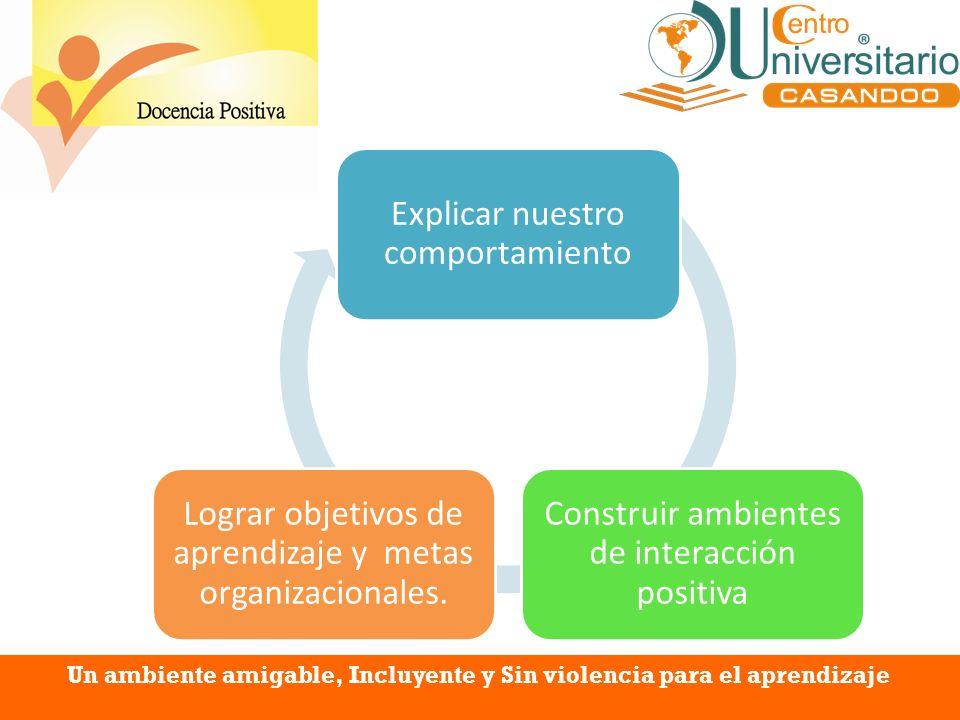 Explicar nuestro comportamiento Construir ambientes de interacción positiva Lograr objetivos de aprendizaje y metas organizacionales. Un ambiente amig