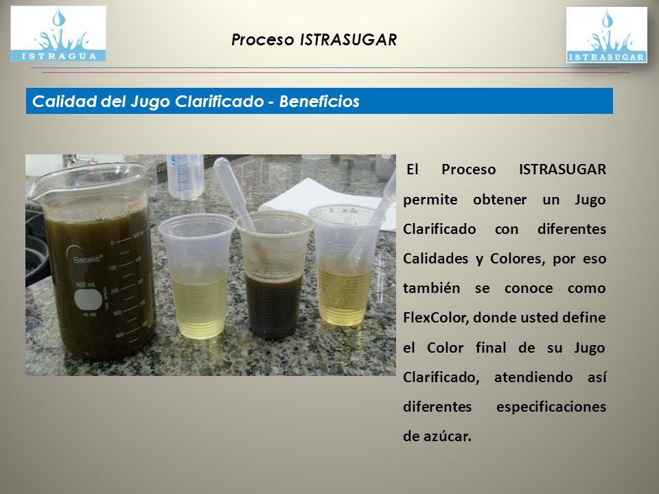 Proceso ISTRASUGAR Calidad del Jugo Clarificado - Beneficios El Proceso ISTRASUGAR permite obtener un Jugo Clarificado con diferentes Calidades y Colo