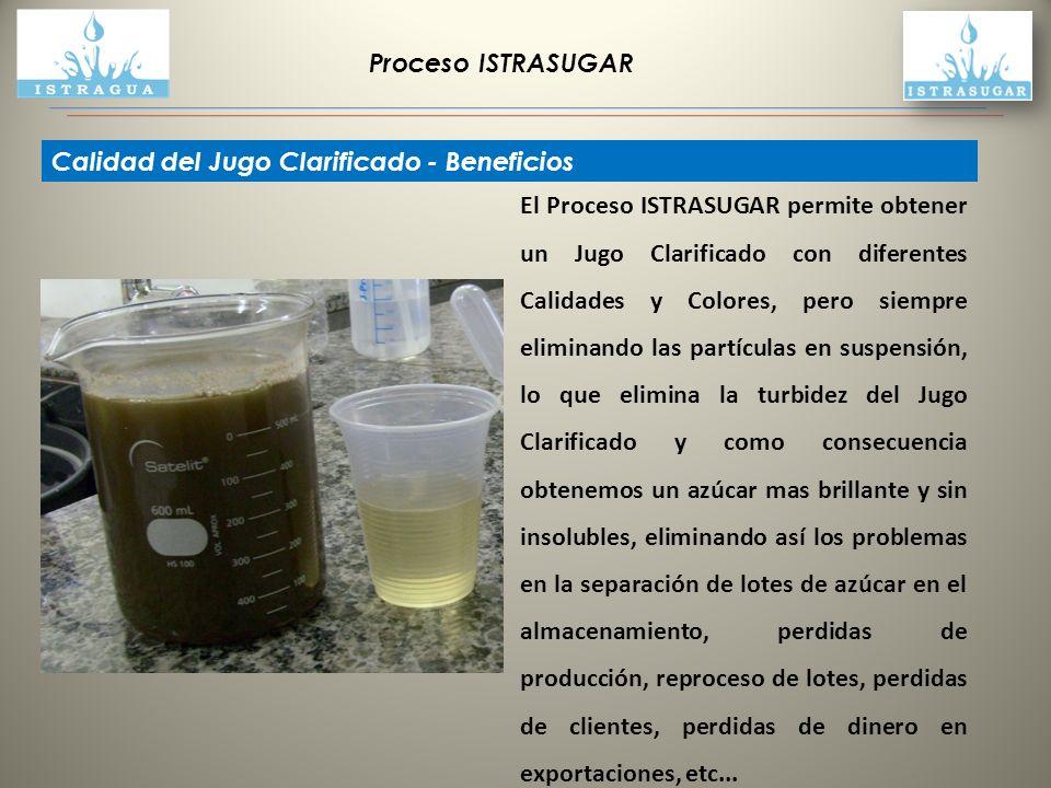 Proceso ISTRASUGAR Calidad del Jugo Clarificado - Beneficios La patente ISTRASUGAR es un Proceso de Purificación de Extractos Vegetales, que incluye el Jugo de Caña, separa físicamente las impurezas del jugo de caña, obteniendo un líquido tan claro como se desee, 500, 1000, 2000 de Color Bruto de Jugo Clarificado, pudiendo también hacer apenas una pasada al Jugo, eliminando levemente su Turbidez, lo que posibilita la producción de azúcar orgánico sin productos químicos y obtener el color de azúcar deseada, desde marrón a Refinada.