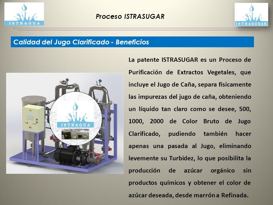 Proceso ISTRASUGAR Calidad del Jugo Clarificado - Beneficios La patente ISTRASUGAR es un Proceso de Purificación de Extractos Vegetales, que incluye e