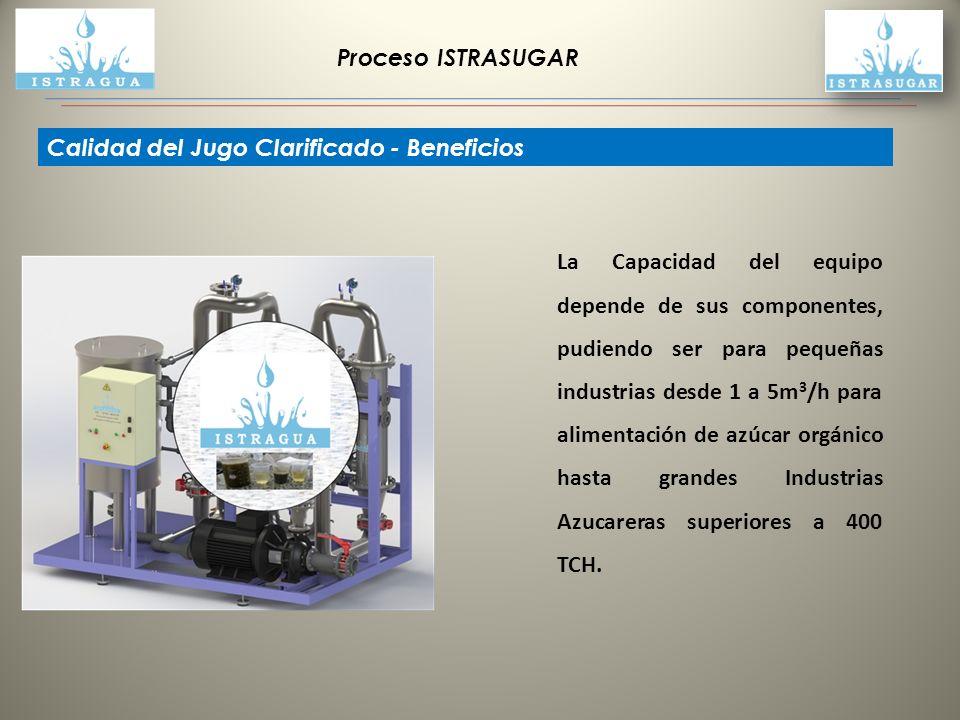 Proceso ISTRASUGAR La Capacidad del equipo depende de sus componentes, pudiendo ser para pequeñas industrias desde 1 a 5m 3 /h para alimentación de az