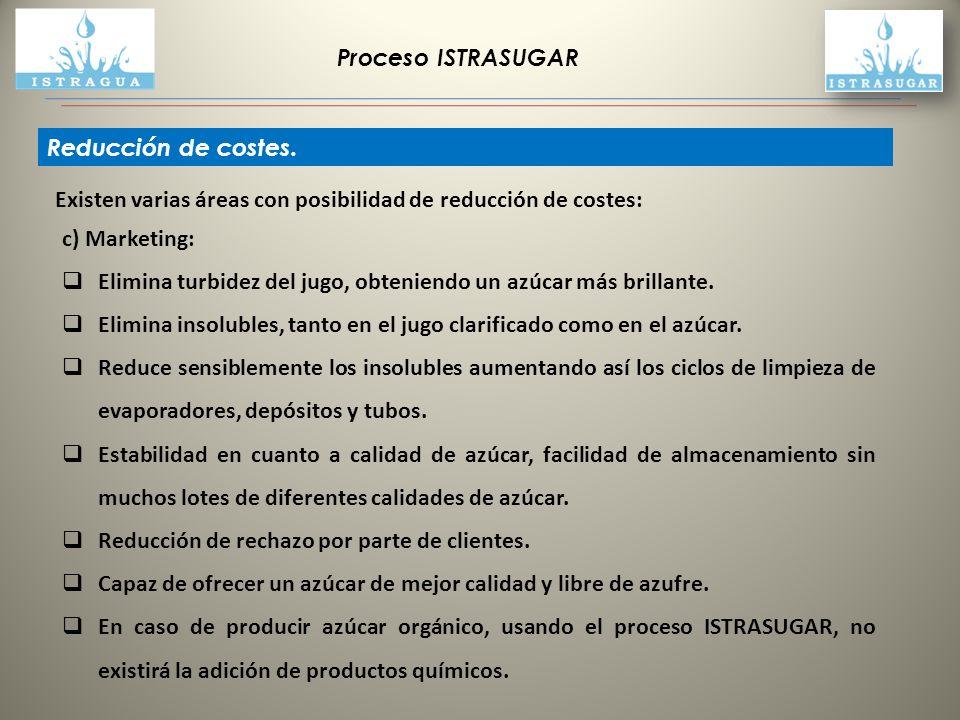 Proceso ISTRASUGAR Reducción de costes. Existen varias áreas con posibilidad de reducción de costes: c) Marketing: Elimina turbidez del jugo, obtenien