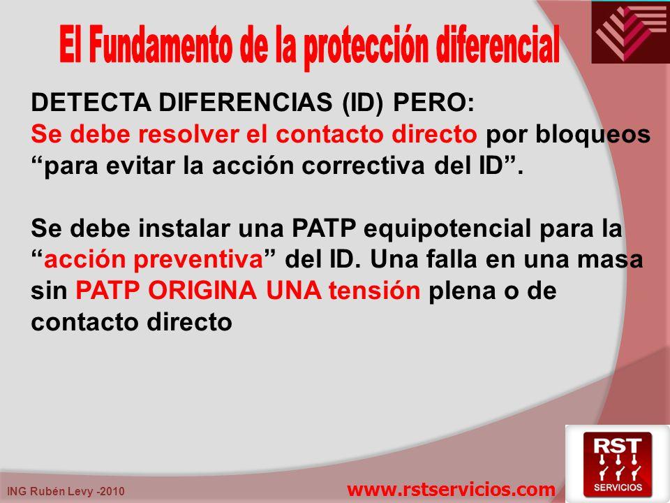 ING Rubén Levy -2010 DETECTA DIFERENCIAS (ID) PERO: Se debe resolver el contacto directo por bloqueos para evitar la acción correctiva del ID. Se debe
