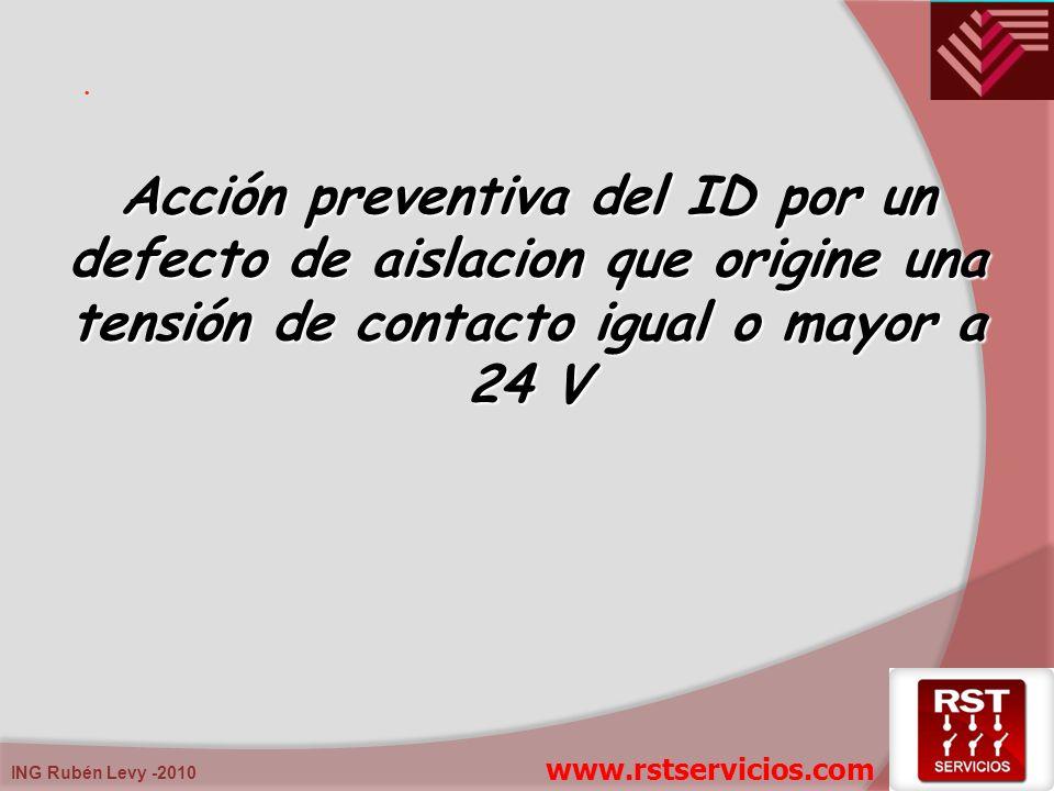 . Acción preventiva del ID por un defecto de aislacion que origine una tensión de contacto igual o mayor a 24 V www.rstservicios.com