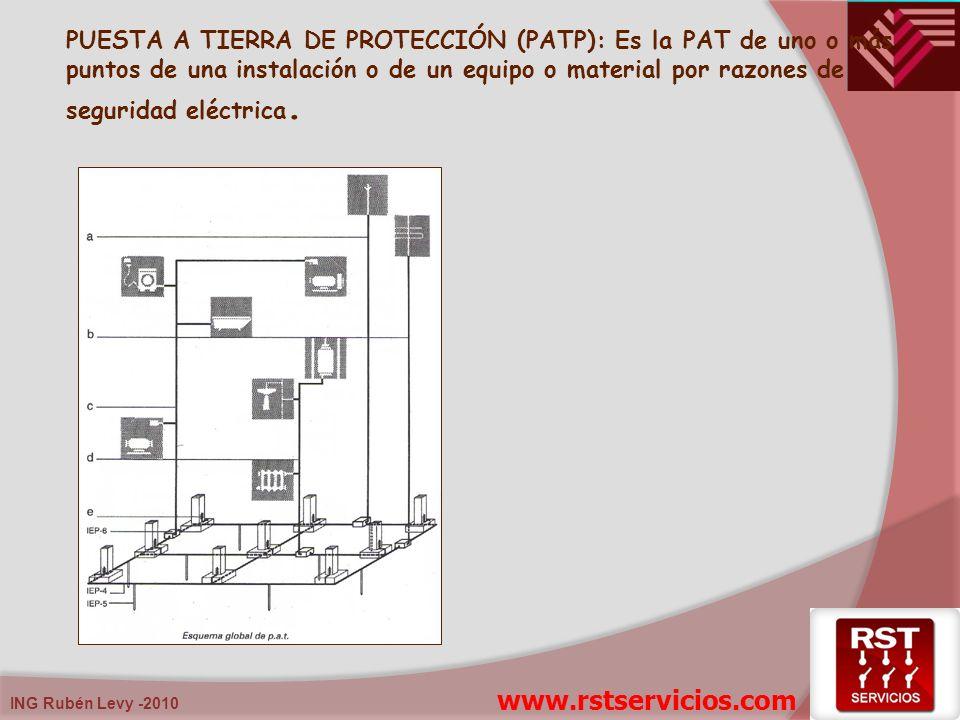 PUESTA A TIERRA DE PROTECCIÓN (PATP): Es la PAT de uno o más puntos de una instalación o de un equipo o material por razones de seguridad eléctrica. w