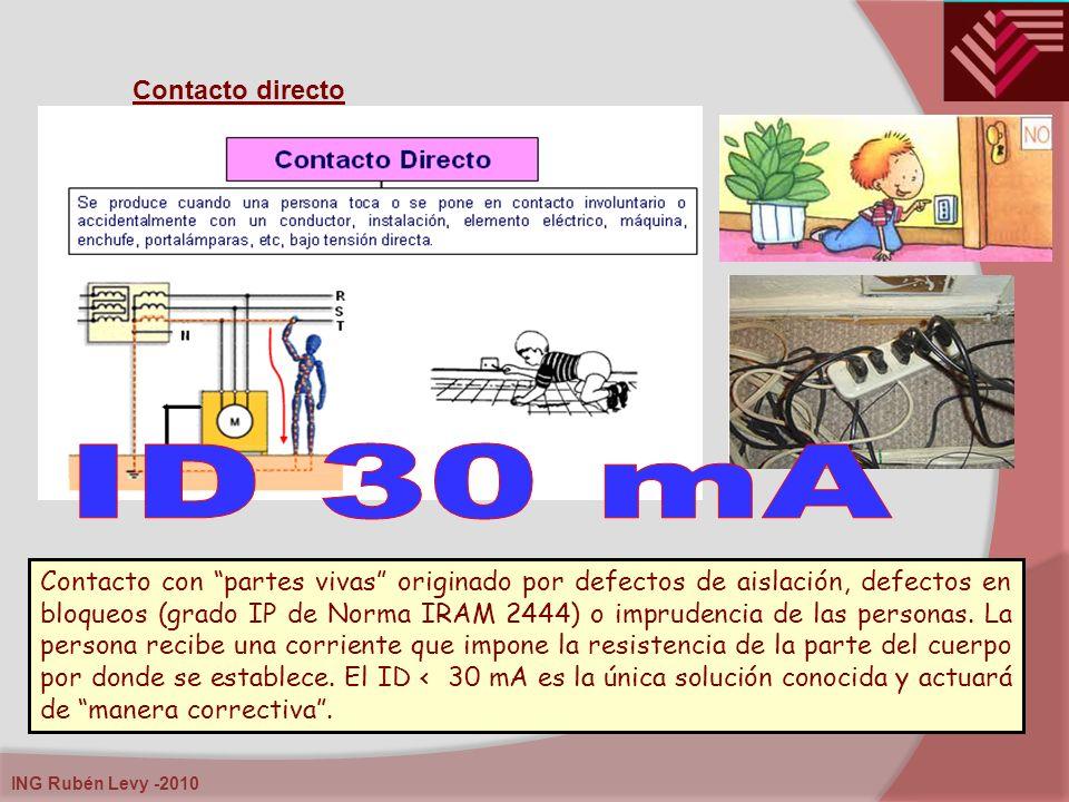 ING Rubén Levy -2010 Contacto directo Contacto con partes vivas originado por defectos de aislación, defectos en bloqueos (grado IP de Norma IRAM 2444