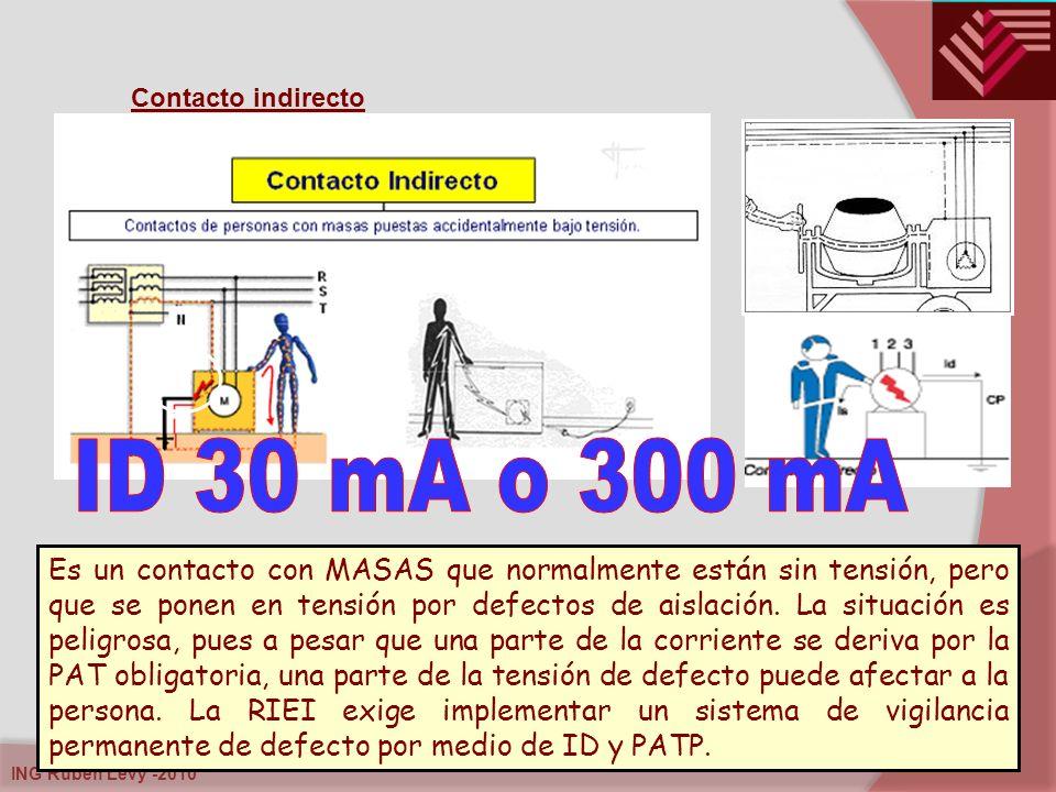 ING Rubén Levy -2010 Contacto indirecto Es un contacto con MASAS que normalmente están sin tensión, pero que se ponen en tensión por defectos de aisla