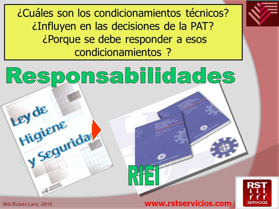 ING Rubén Levy -2010 ¿Cuáles son los condicionamientos técnicos? ¿Influyen en las decisiones de la PAT? ¿Porque se debe responder a esos condicionamie