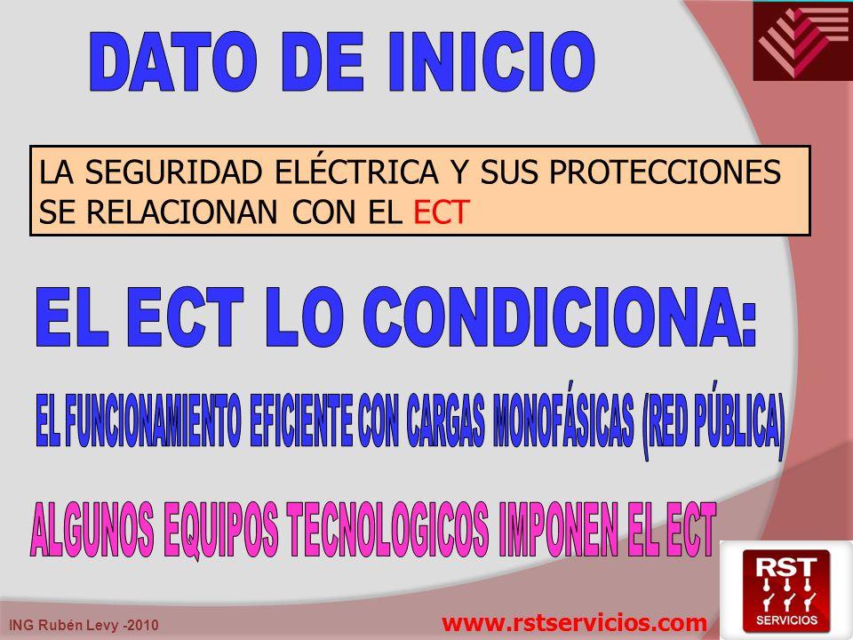 ING Rubén Levy -2010 LA SEGURIDAD ELÉCTRICA Y SUS PROTECCIONES SE RELACIONAN CON EL ECT www.rstservicios.com
