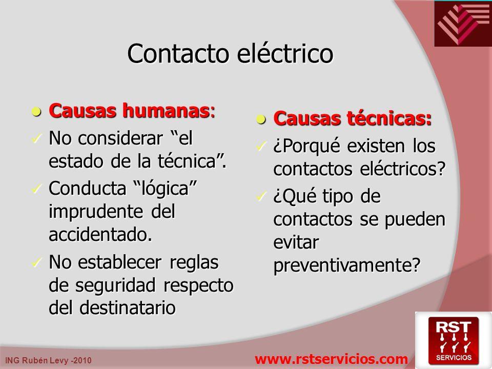 ING Rubén Levy -2010 Contacto eléctrico Causas humanas: Causas humanas: No considerar el estado de la técnica. No considerar el estado de la técnica.